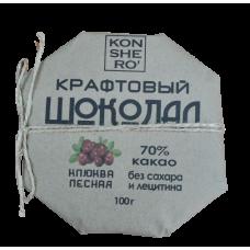 Темный шоколад ручной работы с клюквой  на меду, 100гр Олег Пекар